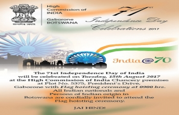 Invitation for Celebration of 71st Independence Day of India on 15th August 2017 at the High Commission of India Chancery premises at 0900 hrs