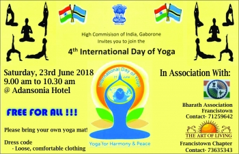 4th International Day of Yoga on 23.6.2018 at Adansonia Hotel, Francistown