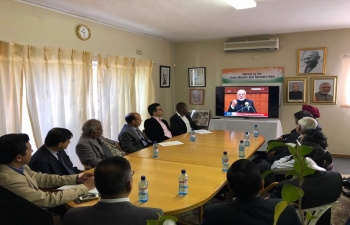 Live Telecast of Prime Ministers address in Uganada Parliament at High Commission of India, Gaborone on 25.7.2018