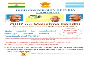 Quiz on Mahatma Gandhi on 2 October 2018