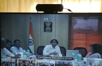 Hon. Mr Suresh Prabhakar Prabhu, Minister of Commerce and Industry, GoI interacting with the Indian Business Community  through DVC on 6.5.2019