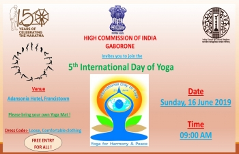 5th International Day of Yoga in Francistown on 16 June 2019 at Adansonia Hotel, Francistown