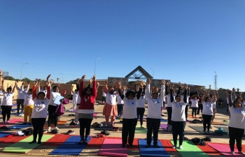 Celebration of 5th International Day of Yoga  on 23.6.2019 at Open Arena, University of Botswana, Gaborone