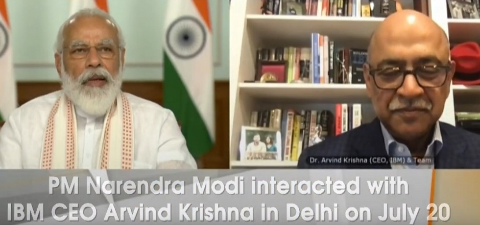PM interacts with IBM CEO Shri Arvind Krishna