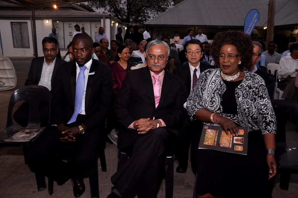 H.E. Dr. Ketan Shukla, High Commissioner of India to Botswana with Hon. Ms. Botlogile Tshireletso, Assistant Minister of Local Government amp Rural Development of the Republic of Botswana (Right), His Worship Mayor Hon. Mr. Kagiso Thutlwe, Mayor, Gaborone City Council (Left) and other dignitaries on the occasion of Indian Art Exhibition at Thapong Visual Arts Centre on 12.09.2016