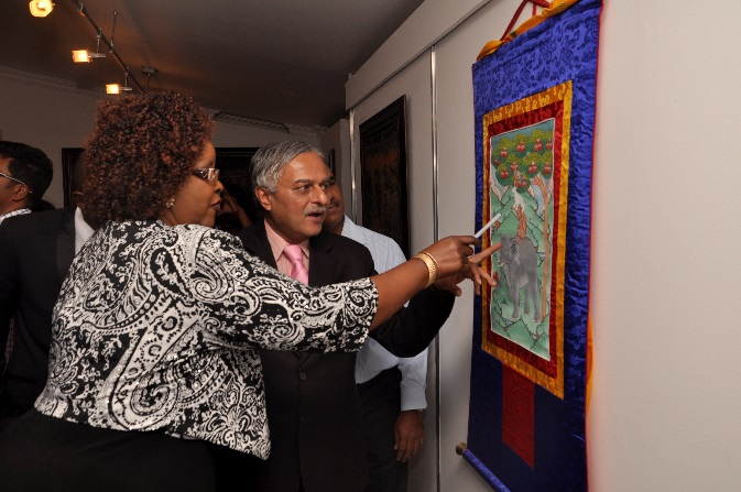 H.E. Dr. Ketan Shukla, High Commissioner of India to Botswana with Hon. Ms. Botlogile Tshireletso, Assistant Minister of Local Government amp Rural Development of the Republic of Botswana on the occasion of Indian Art Exhibition at Thapong Visual Arts Centre on 12.09.2016