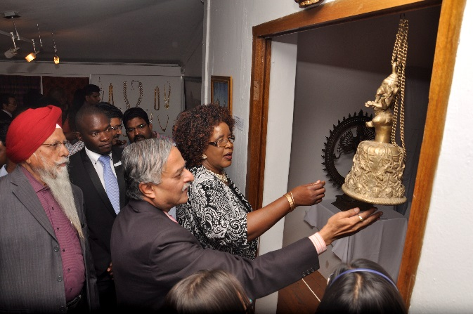 H.E. Dr. Ketan Shukla, High Commissioner of India to Botswana with Hon. Ms. Botlogile Tshireletso, Assistant Minister of Local Government amp Rural Development of the Republic of Botswana, His Worship Mayor Hon. Mr. Kagiso Thutlwe, Mayor, Gaborone City Council and other prominent Indians on the occasion of Indian Art Exhibition at Thapong Visual Arts Centre on 12.09.2016