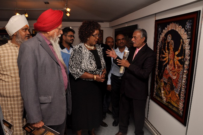 H.E. Dr. Ketan Shukla, High Commissioner of India to Botswana with Hon. Ms. Botlogile Tshireletso, Assistant Minister of Local Government amp Rural Development of the Republic of Botswana and other prominent Indians on the occasion of Indian Art Exhibition at Thapong Visual Arts Centre on 12.09.2016