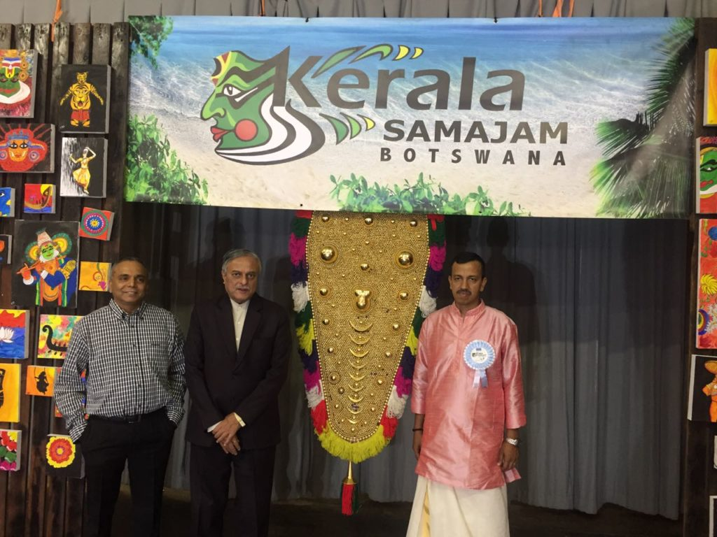 H.E. Dr. Ketan Shukla, High Commissioner of India to Botswana (as Chief Guest) with Mr. Ramachandran Ottappathu, CEO, Choppies Group of companies (Left) and Mr. Shashi Kumar R. Velambath, President, Kerala Samajam Botswana (Right) during Traditional Kerala feast (ONAM SADYA) at St. Josephs College, Gaborone on 18.09.2016