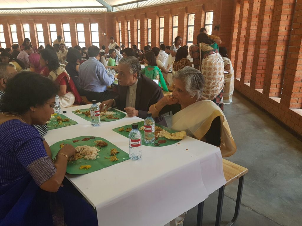 H.E. Dr. Ketan Shukla, High Commissioner of India to Botswana (as Chief Guest) and Mrs. Jalja Ram during Traditional Kerala feast (ONAM SADYA) at St. Josephs College, Gaborone on 18.09.2016