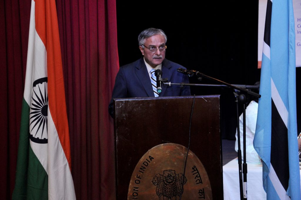 H.E. Dr. Ketan Shukla, High Commissioner of India to Botswana delivering speech on the occasion of Indian light-classical vocal concert by Ms. Shaila Hattangadi at Westwood International School on 25.10.2016